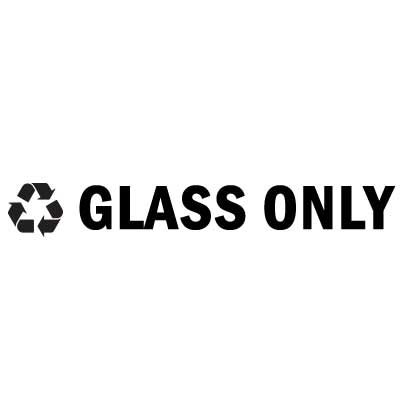 """Rubbermaid FGRSB1 8"""" """"Glass Only"""" Recycle Decal - Black Letters/Clear"""