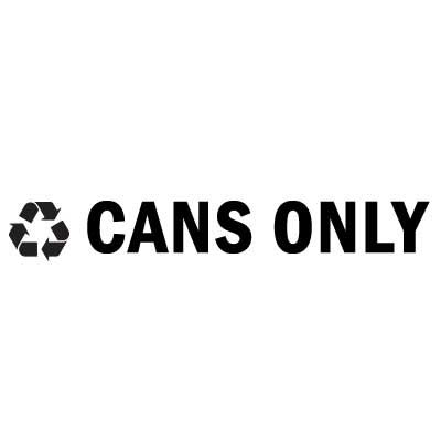 "Rubbermaid FGRSB2 8"" ""Cans Only"" Recycle Decal - Black Letters/Clear"