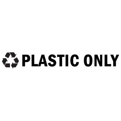 "Rubbermaid FGRSB3 8"" ""Plastic Only"" Recycle Decal - Black Letters/Clear"