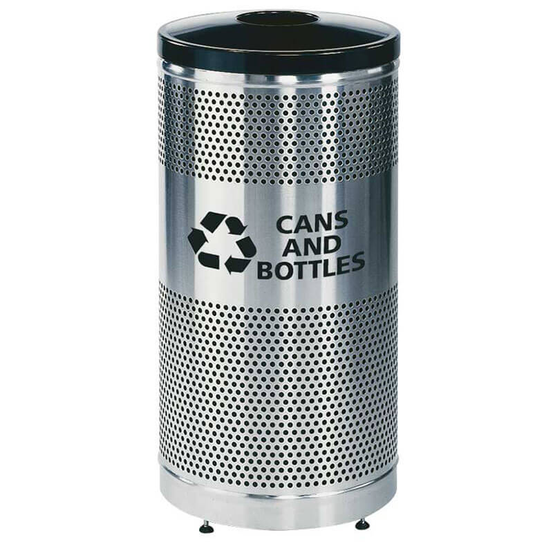 Rubbermaid FGS3SSGBKPL 25-gal Cans Recycle Bin - Indoor/Outdoor, Decorative