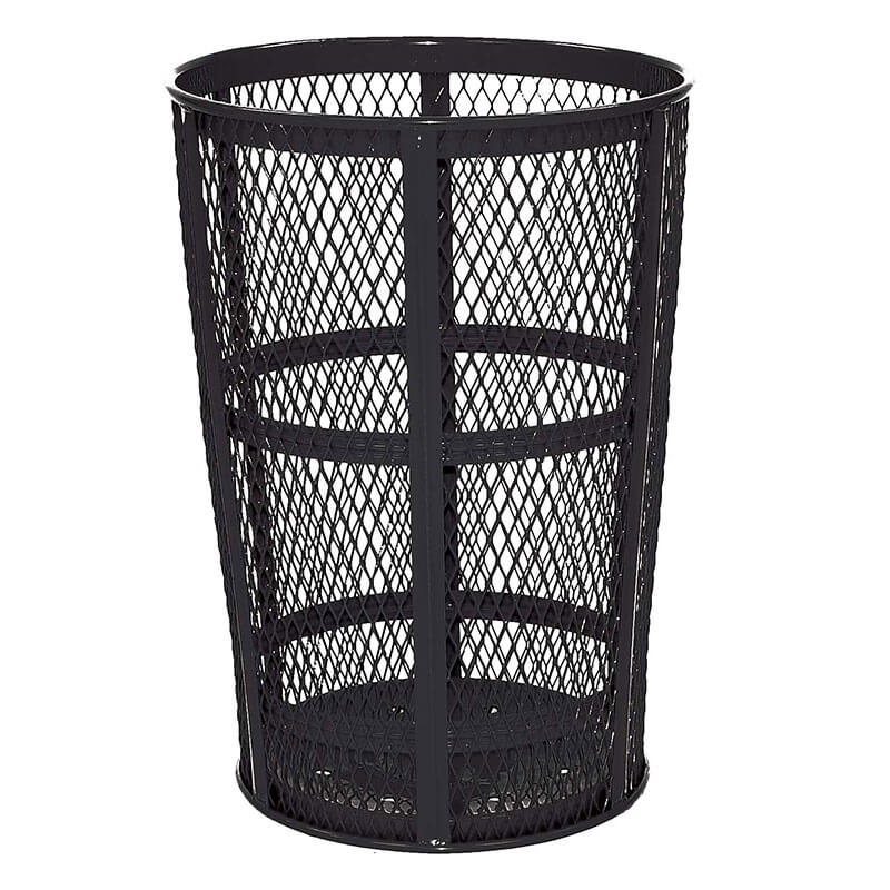 Rubbermaid FGSBR52BK 45 gal Street Basket Outdoor Receptacle - Bottom Drain, Black