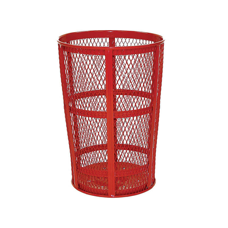 Rubbermaid FGSBR52RD 45-gal Street Basket Outdoor Receptacle - Bottom Drain, Red