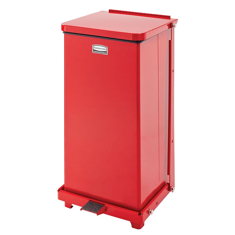 "Rubbermaid FGST12EPLRD 12-gal Square Plastic Step Trash Can, 12""L x 12""W x 23""H, Red"