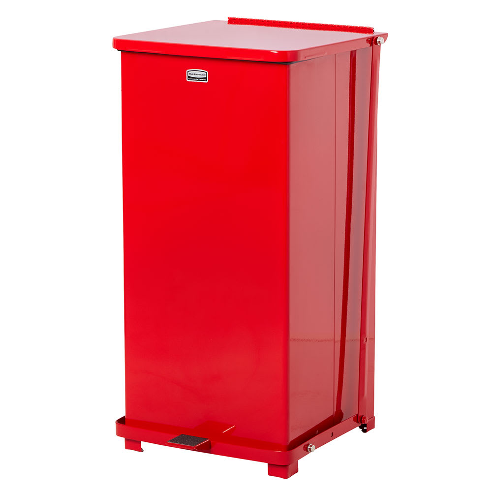 "Rubbermaid FGST24EPLRD 24-gal Square Plastic Step Trash Can, 15""L x 15""W x 30""H, Red"