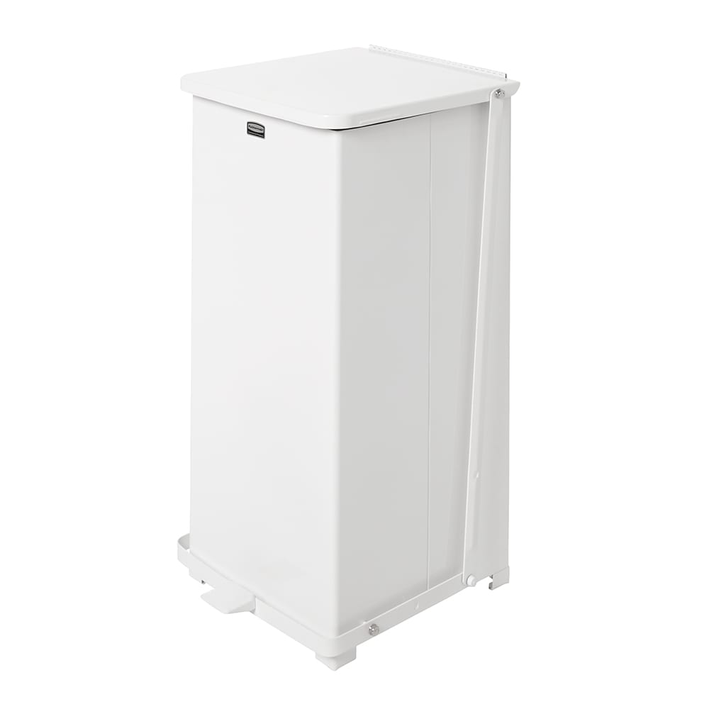"Rubbermaid FGST24EPLWH 24-gal Square Plastic Step Trash Can, 15""L x 15""W x 30""H, White"
