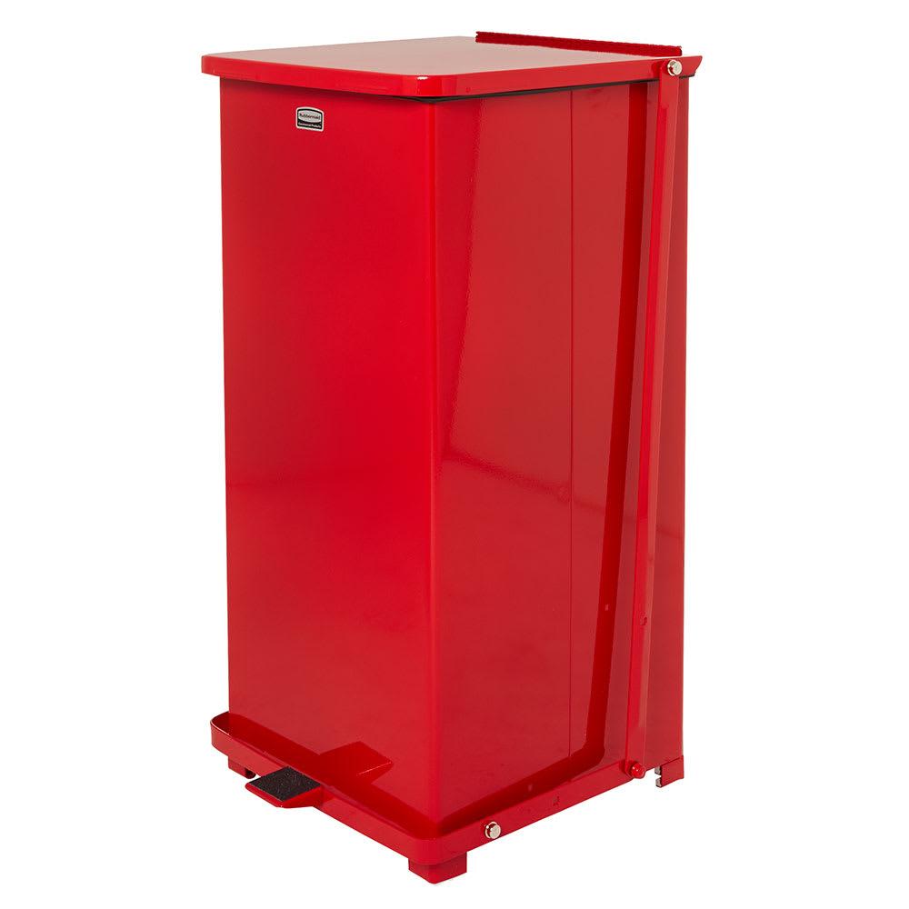 "Rubbermaid FGST24ERBRD 24-gal Square Plastic Step Trash Can, 15""L x 15""W x 30""H, Red"