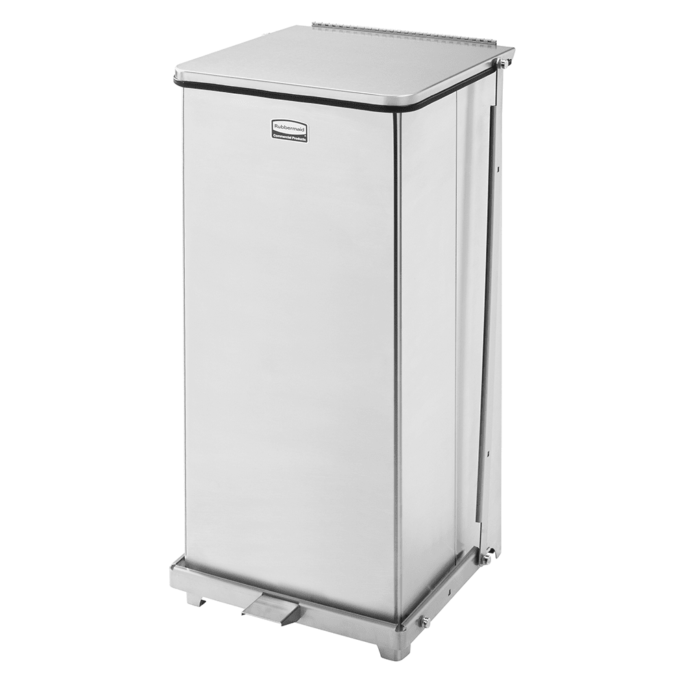 "Rubbermaid FGST24SSPL 24-gal Square Metal Step Trash Can, 15""L x 15""W x 30""H, Stainless"