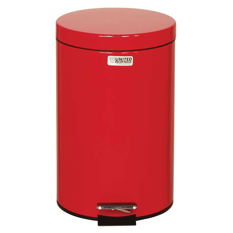 "Rubbermaid FGST35EPLRD 3.5-gal Round Plastic Step Trash Can, 11"" dia. x 17""H, Red"