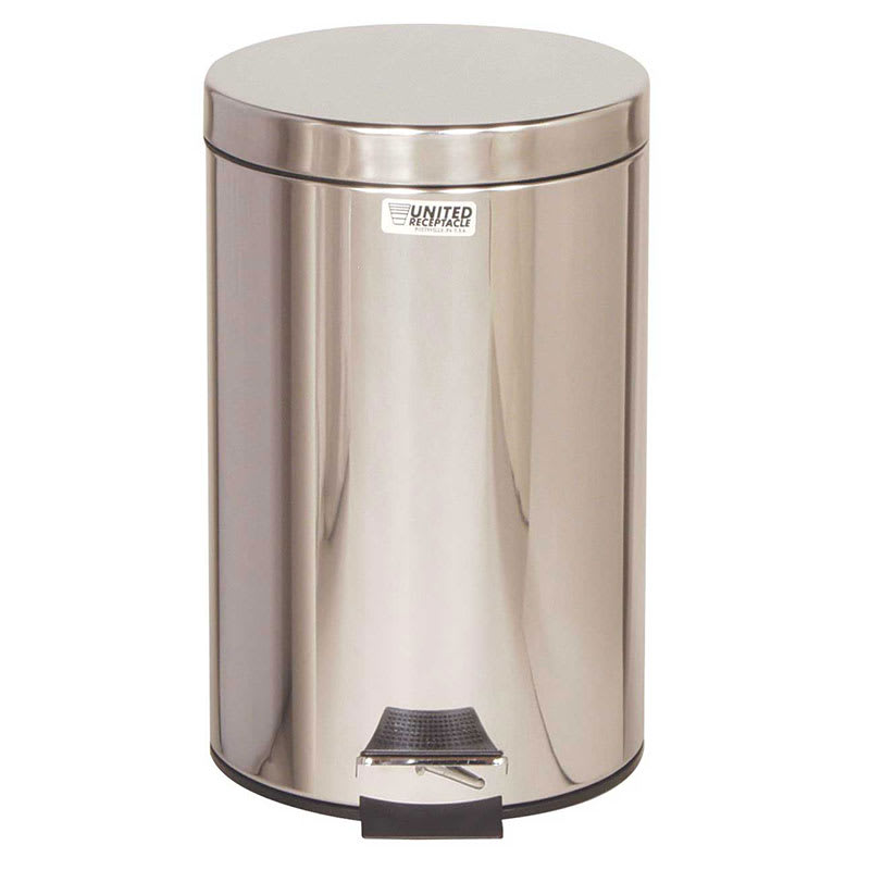 """Rubbermaid FGST35SSPL 3.5-gal Round Metal Step Trash Can, 11"""" dia. x 17""""H, Stainless"""