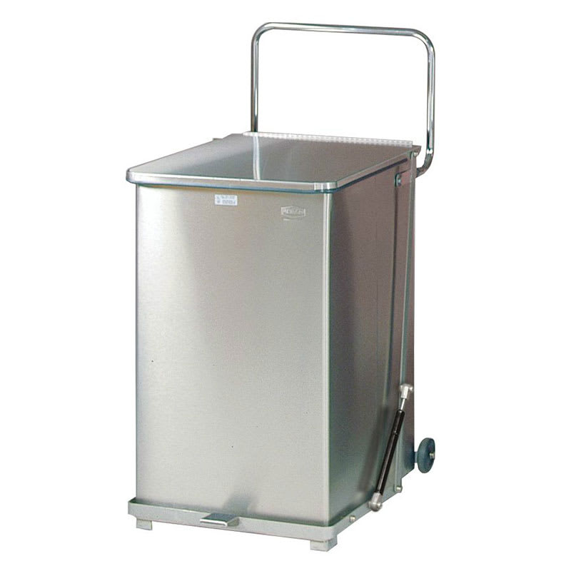 "Rubbermaid FGST40SSRB 40-gal Square Metal Step Trash Can, 19""L x 19""W x 30""H, Stainless"