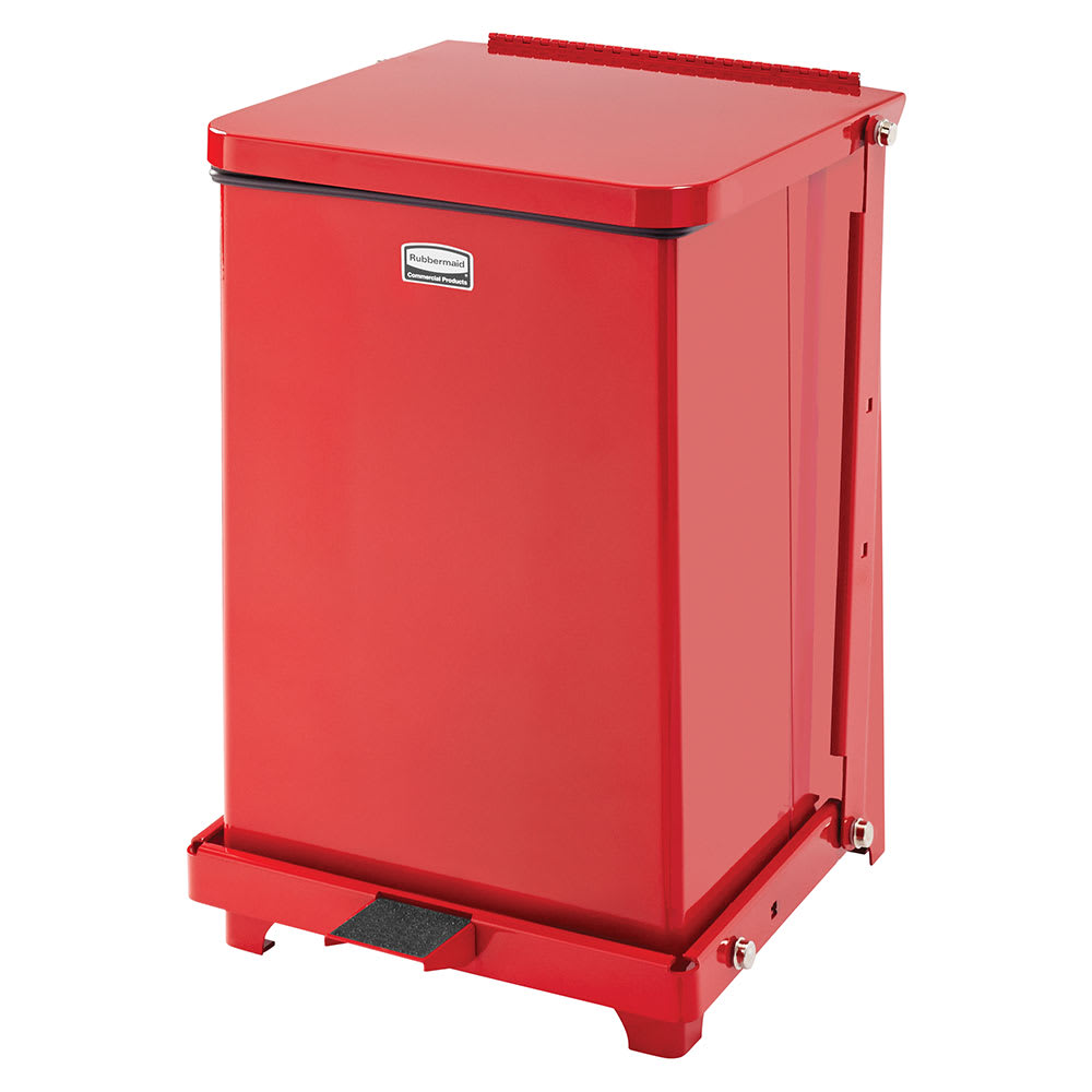 "Rubbermaid FGST7EPLRD 7-gal Square Plastic Step Trash Can, 12""L x 12""W x 17""H, Red"