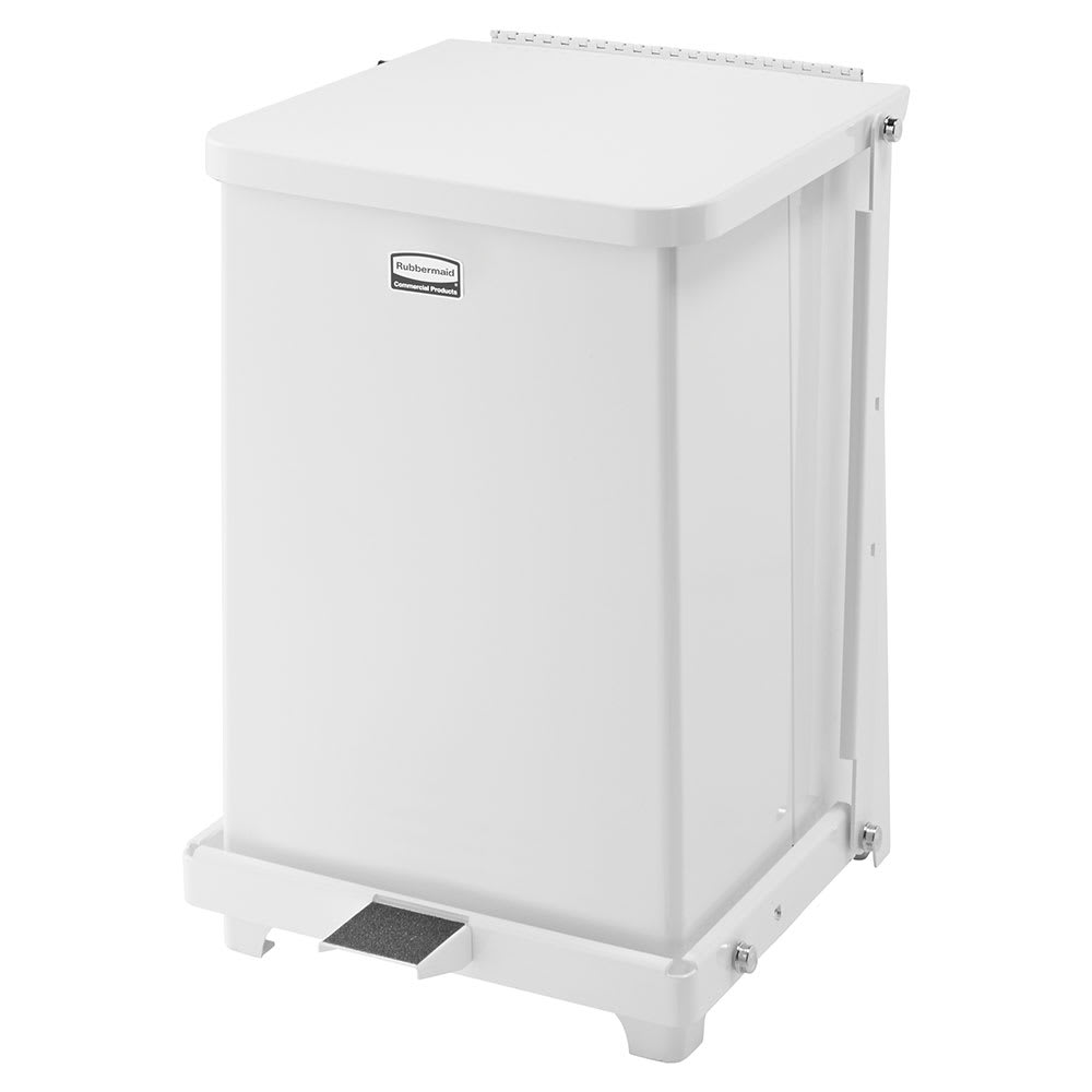 "Rubbermaid FGST7EPLWH 7-gal Square Plastic Step Trash Can, 12""L x 12""W x 17""H, White"
