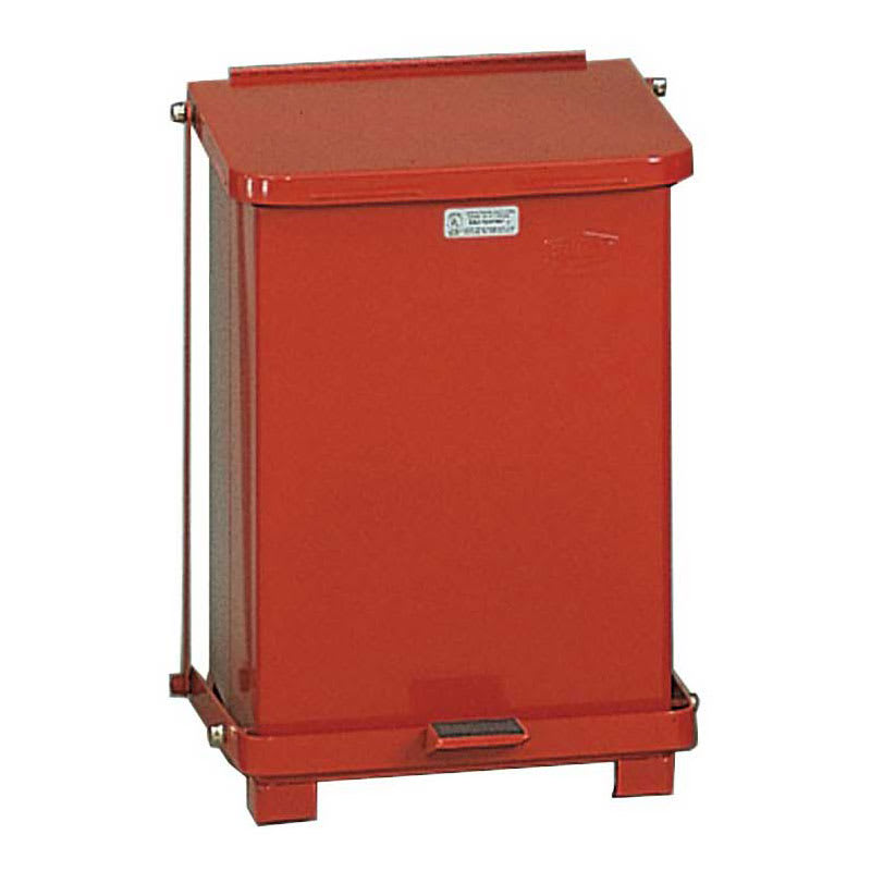 "Rubbermaid FGST7ERBRD 7-gal Square Plastic Step Trash Can, 12""L x 12""W x 17""H, Red"