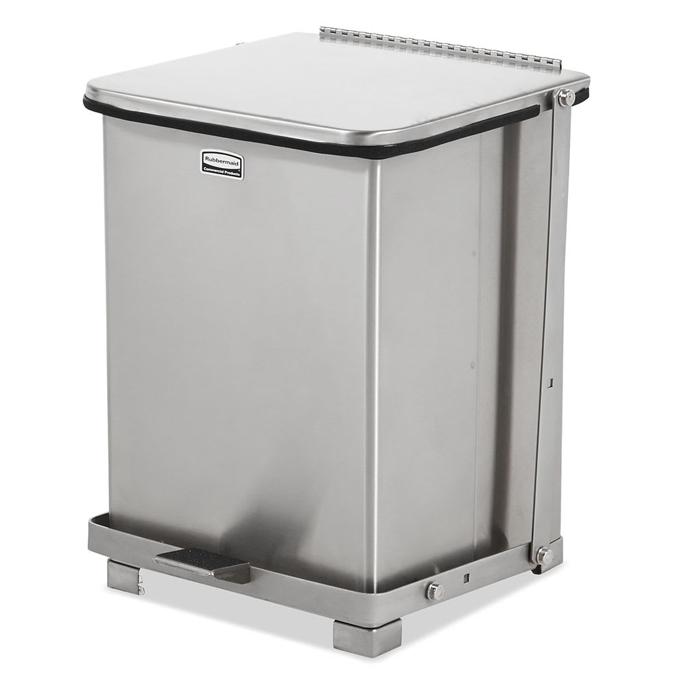 """Rubbermaid FGST7SSPL 7-gal Square Metal Step Trash Can, 12""""L x 12""""W x 17""""H, Stainless"""