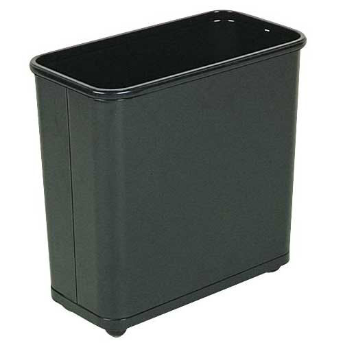 Rubbermaid FGWB30RBK 30 qt Rectangle Waste Basket - Metal, Black