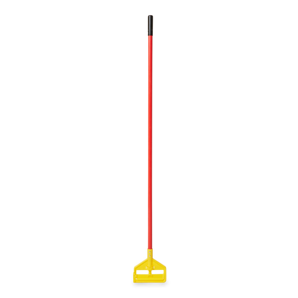 "Rubbermaid FGH14600RD00 60"" Invader Wet Mop Handle - 1"" Headbands, Plastic, Yellow/Red"