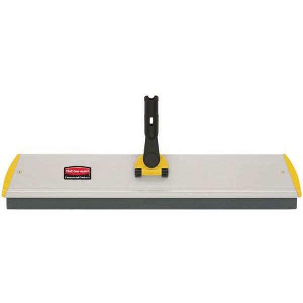 """Rubbermaid FGQ57000YL00 24"""" Hygen Squeegee Frame - Flat, Hook-and-Loop Strips, Aluminum, Yellow"""