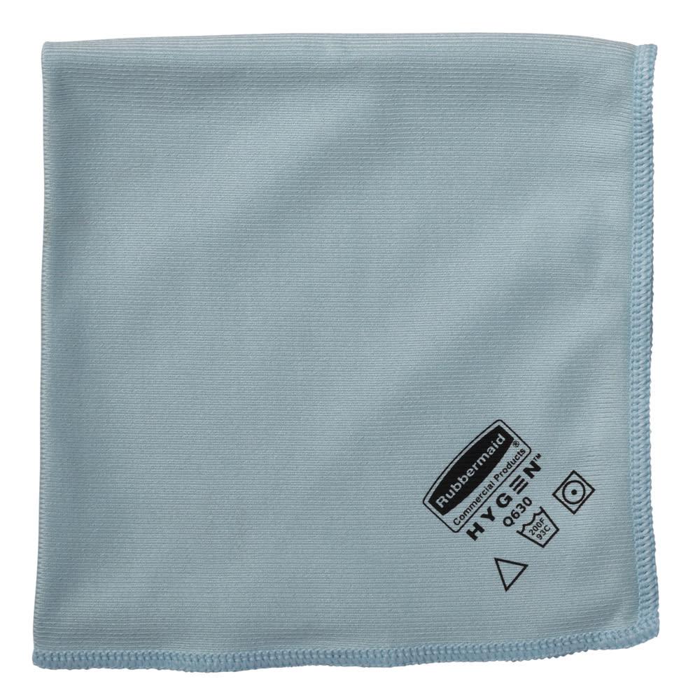 """Rubbermaid FGQ63006BL00 16"""" Square Hygen Glass Cloth - Microfiber, Blue"""