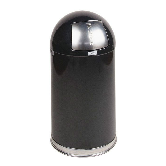 Rubbermaid FGR1530EGLBK 12-gal Indoor Decorative Trash Can - Metal, Black