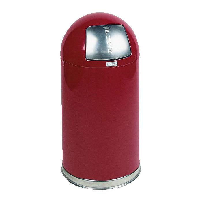 Rubbermaid FGR1530EGLRD 12-gal Indoor Decorative Trash Can - Metal, Red