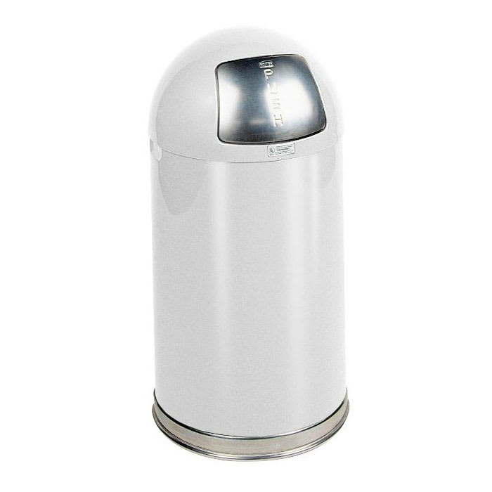 Rubbermaid FGR1530EPLWH 12-gal Indoor Decorative Trash Can - Metal, White