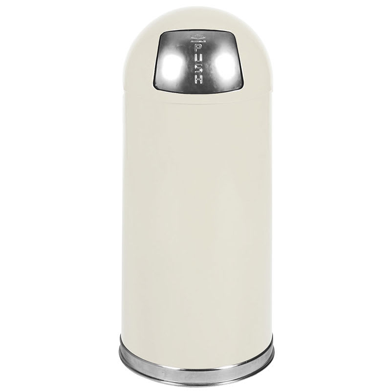 Rubbermaid FGR1536EPLAL 15-gal Indoor Decorative Trash Can - Metal, Almond