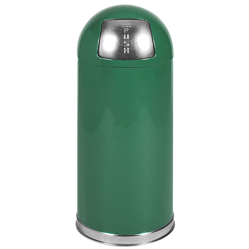 Rubbermaid FGR1536EPLSPGN 15-gal Indoor Decorative Trash Can - Metal, Spruce Green