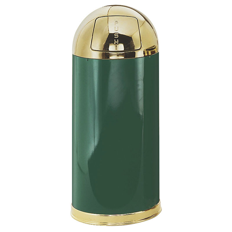 Rubbermaid FGR153610GLEGN 15-gal Indoor Decorative Trash Can - Metal, Green