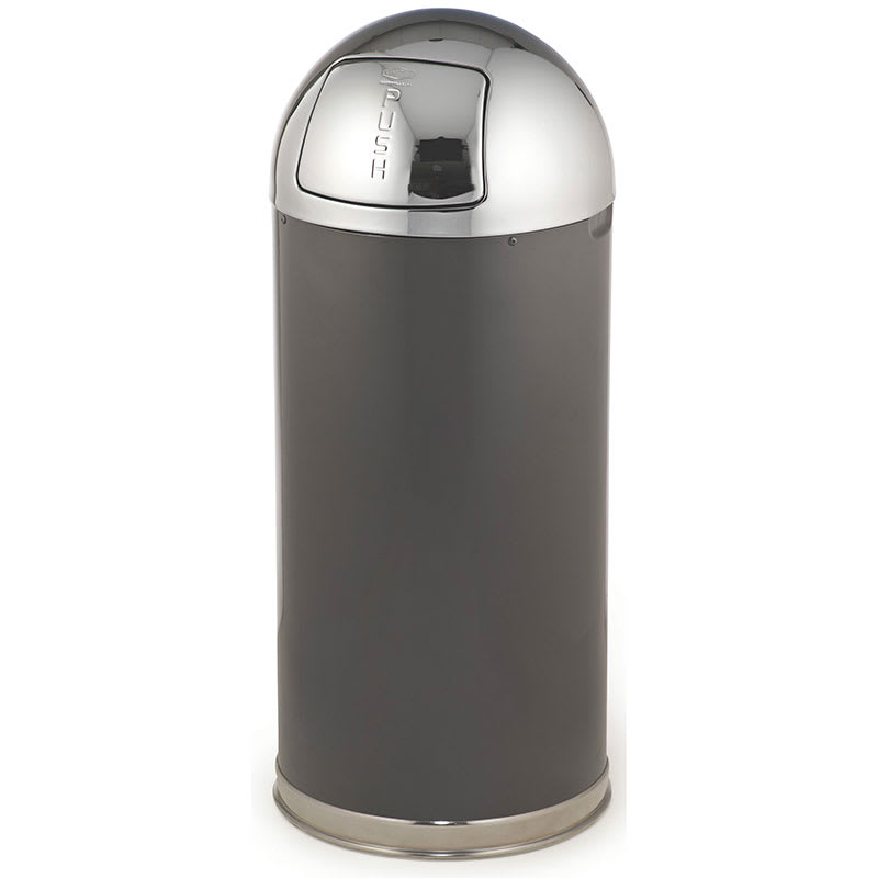 Rubbermaid FGR153620GLANT 15-gal Indoor Decorative Trash Can - Metal, Anthracite