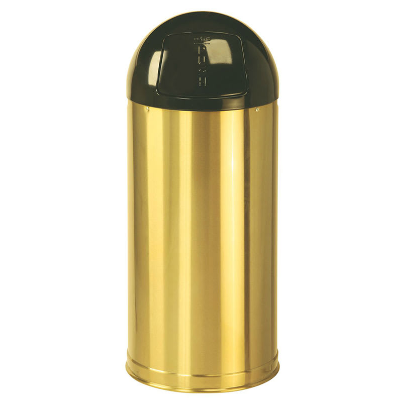 Rubbermaid FGR1536SBSGL 15-gal Indoor Decorative Trash Can - Metal, Satin Brass