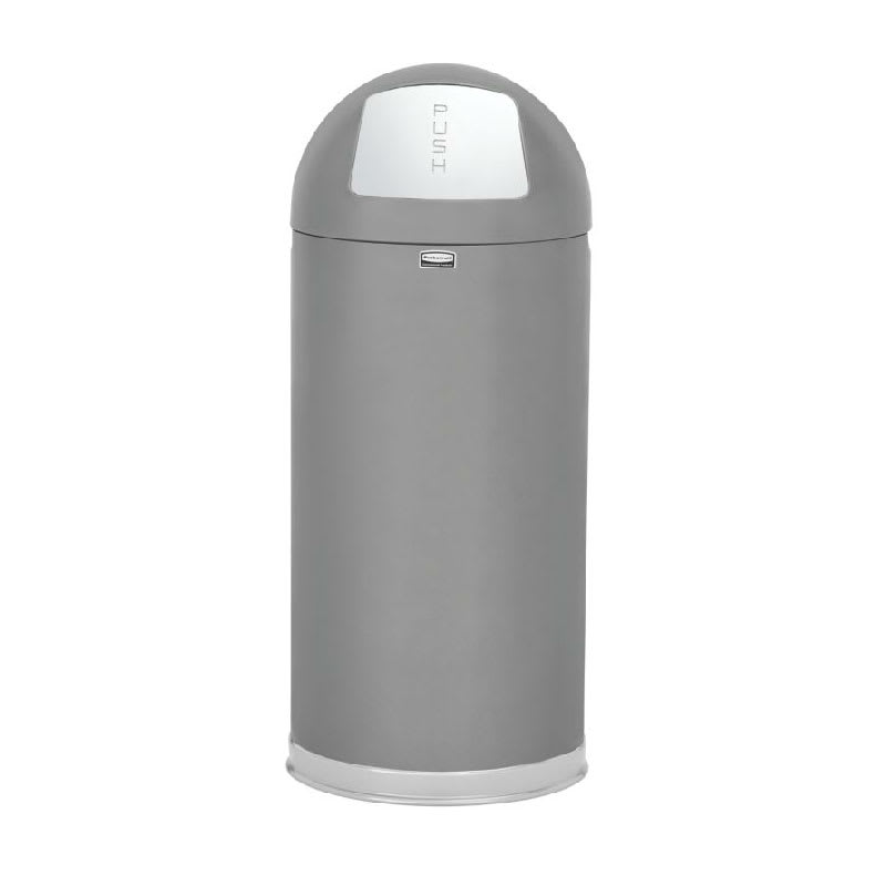 Rubbermaid FGR1536SCGRGL 15-gal Indoor Decorative Trash Can - Metal, Satin Gray