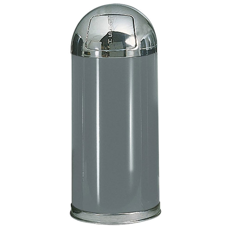 Rubbermaid FGR153620PLANT 15-gal Indoor Decorative Trash Can - Metal, Anthracite