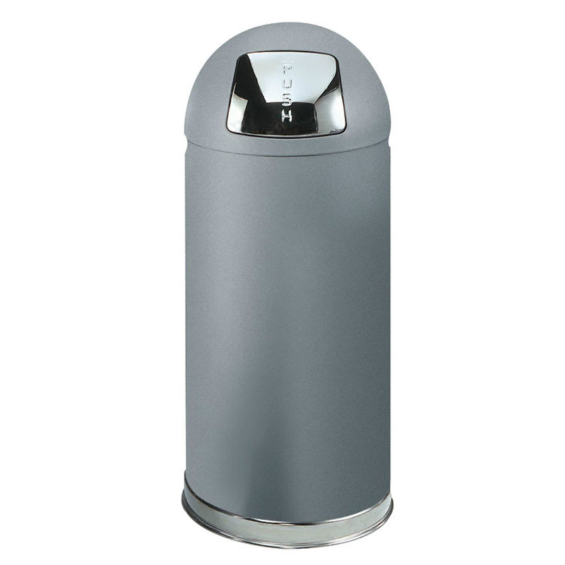 Rubbermaid FGR1536SMPL 15-gal Indoor Decorative Trash Can - Metal, Silver