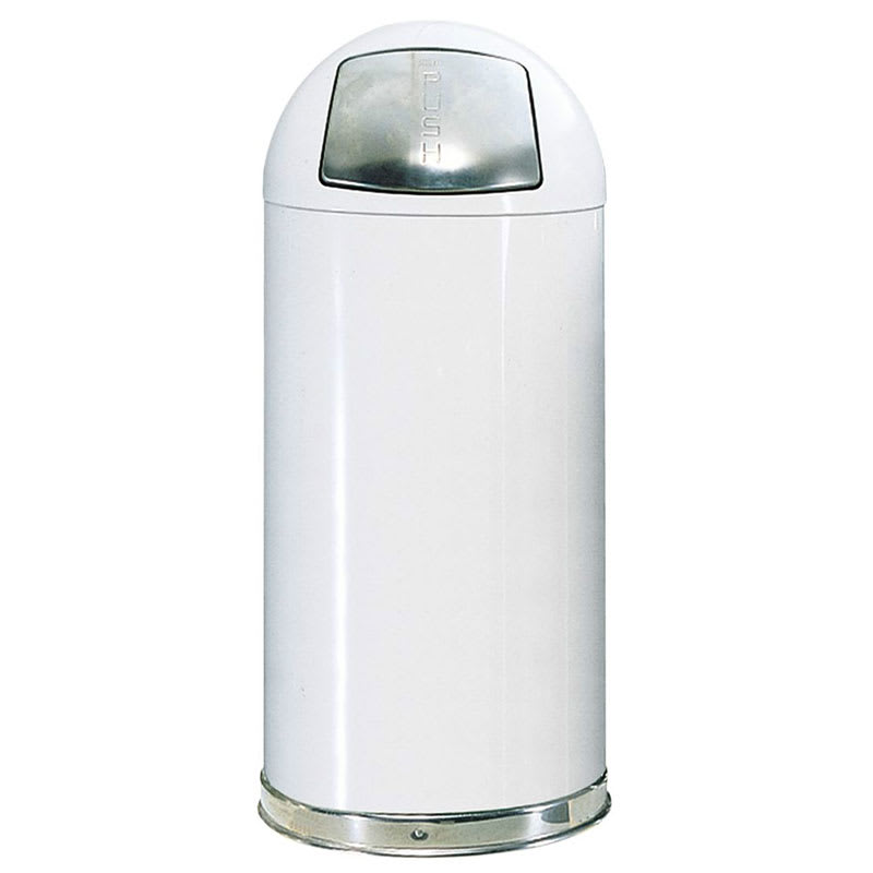 Rubbermaid FGR1842EGLWH 21-gal Indoor Decorative Trash Can - Metal, White