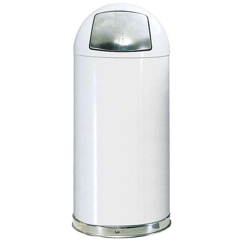 Rubbermaid FGR1842EPLWH 21-gal Indoor Decorative Trash Can - Metal, White