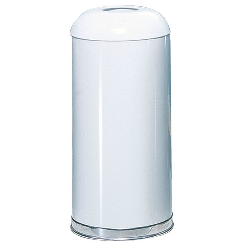 Rubbermaid FGR32EGLWH 15-gal Indoor/Outdoor Decorative Trash Can - Metal, White