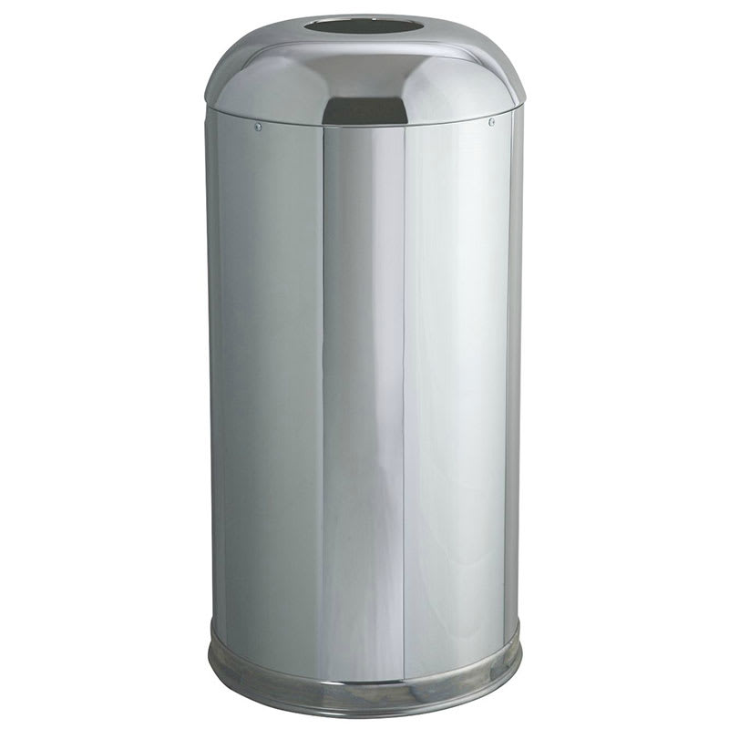 Rubbermaid FGR32MCGL 15 gal Indoor/Outdoor Decorative Trash Can - Metal, Mirror Chrome