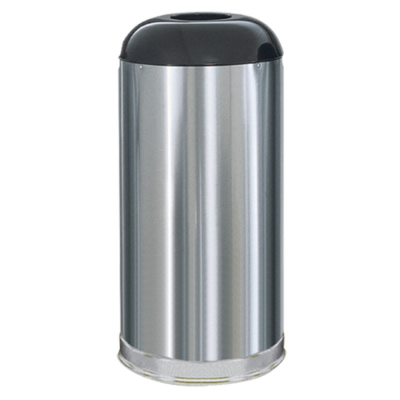 Rubbermaid FGR32SSSGL 15-gal Indoor/Outdoor Decorative Trash Can - Metal, Stainless Steel