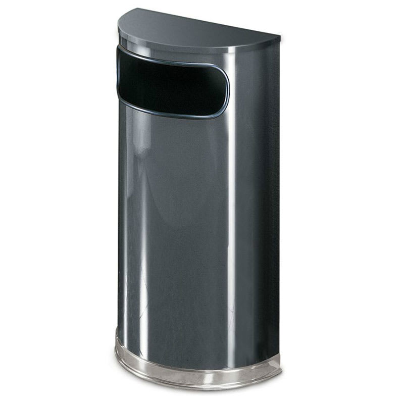 Rubbermaid FGSO820PLANT 9-gal Indoor Decorative Trash Can - Metal, Anthracite