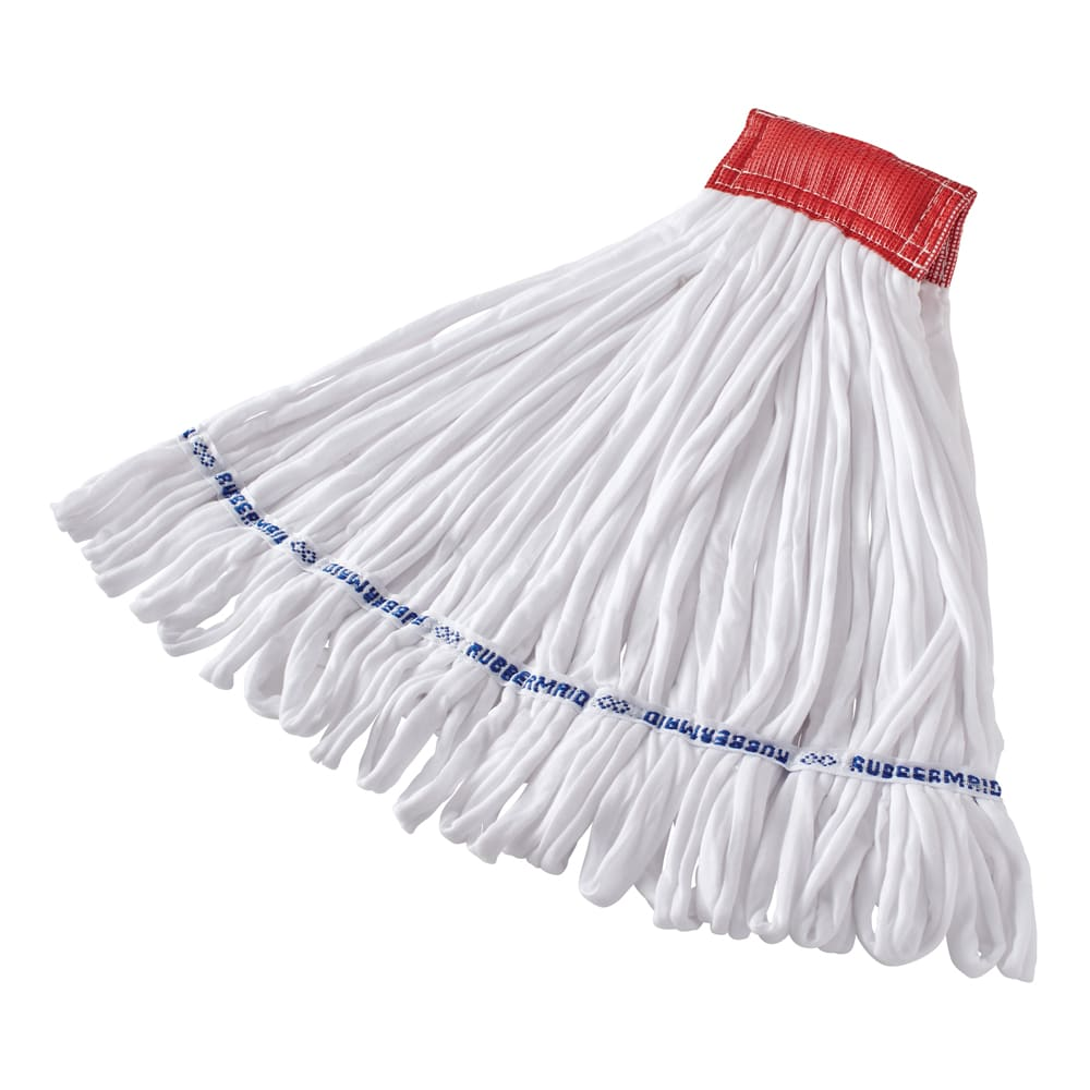 """Rubbermaid FGT25600WH00 Large Rough Wet Mop Head - Looped End, 5"""" Headband, Cotton/Polyester, White"""