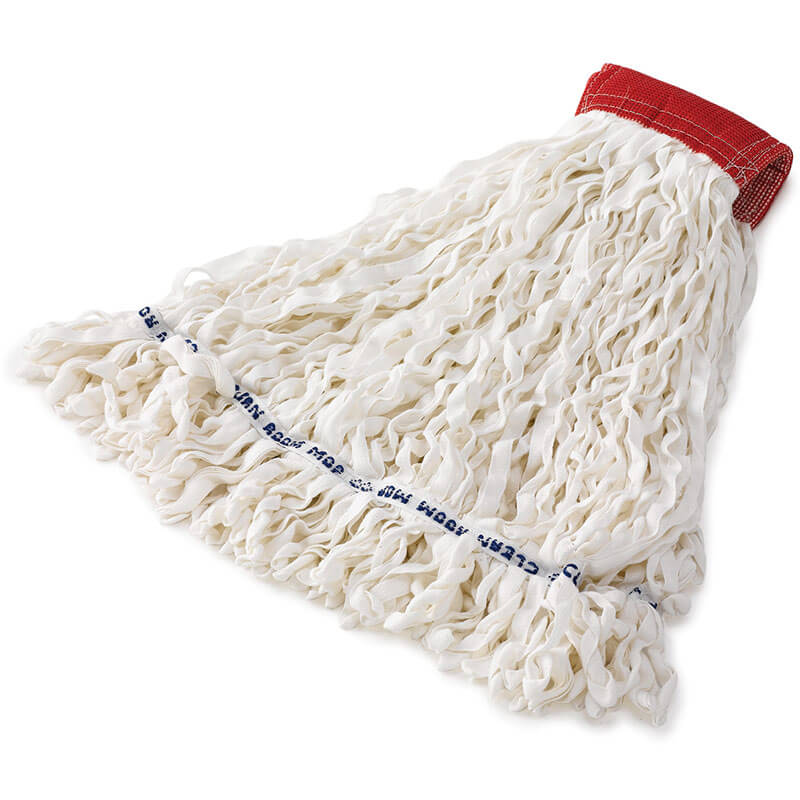 "Rubbermaid FGT30000WH00 Medium Clean Room Mop Head - Looped End, 5"" Headband, Rayon/Polyester, White"