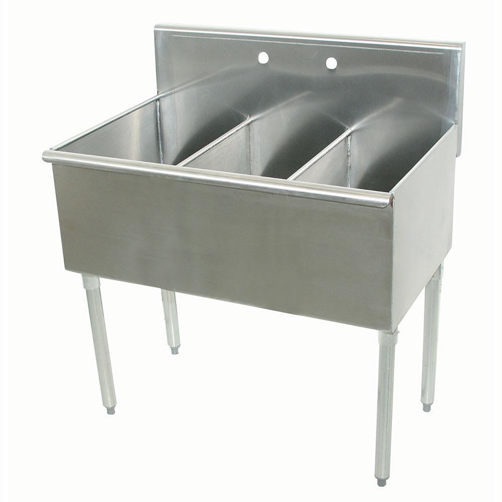 """Advance Tabco 4-3-72 72"""" 3-Compartment Sink w/ 24""""L x 21""""W Bowl, 14"""" Deep"""