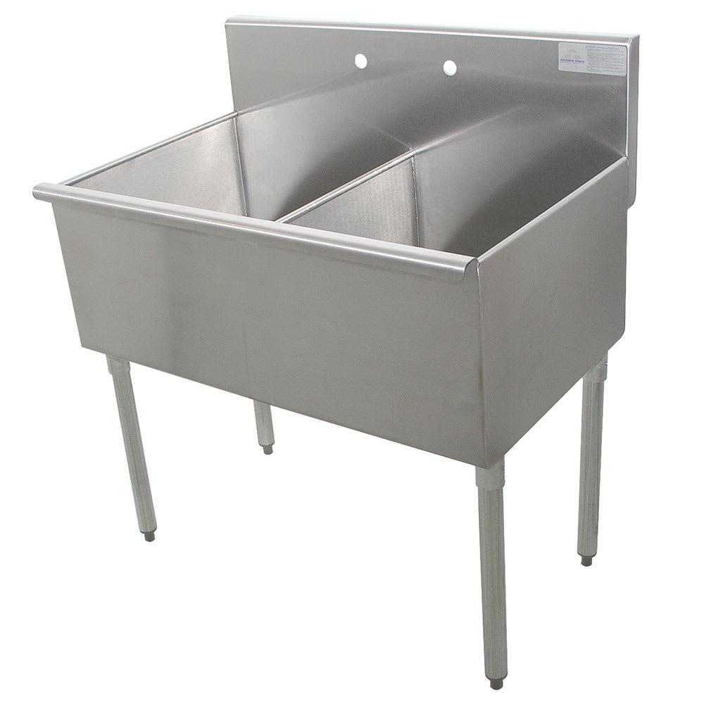 """Advance Tabco 6-2-48 48"""" 2 Compartment Sink w/ 24""""L x 21""""W Bowl, 14"""" Deep"""