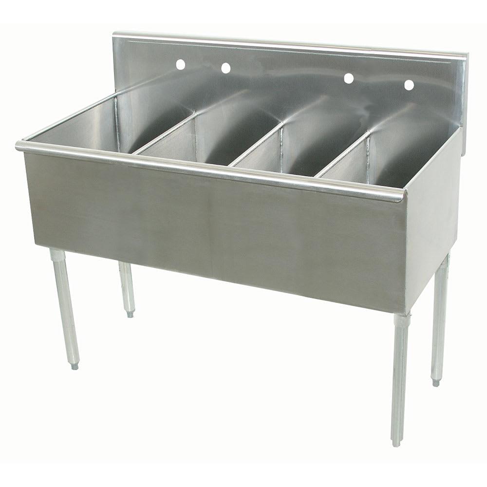 """Advance Tabco 6-4-48 48"""" 4 Compartment Sink w/ 12""""L x 21""""W Bowl, 14"""" Deep"""