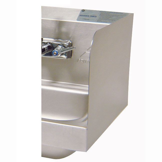 """Advance Tabco 7-PS-11C 12"""" Tall Welded Side Splash for Hand Sinks - 16x14"""" Bowls"""