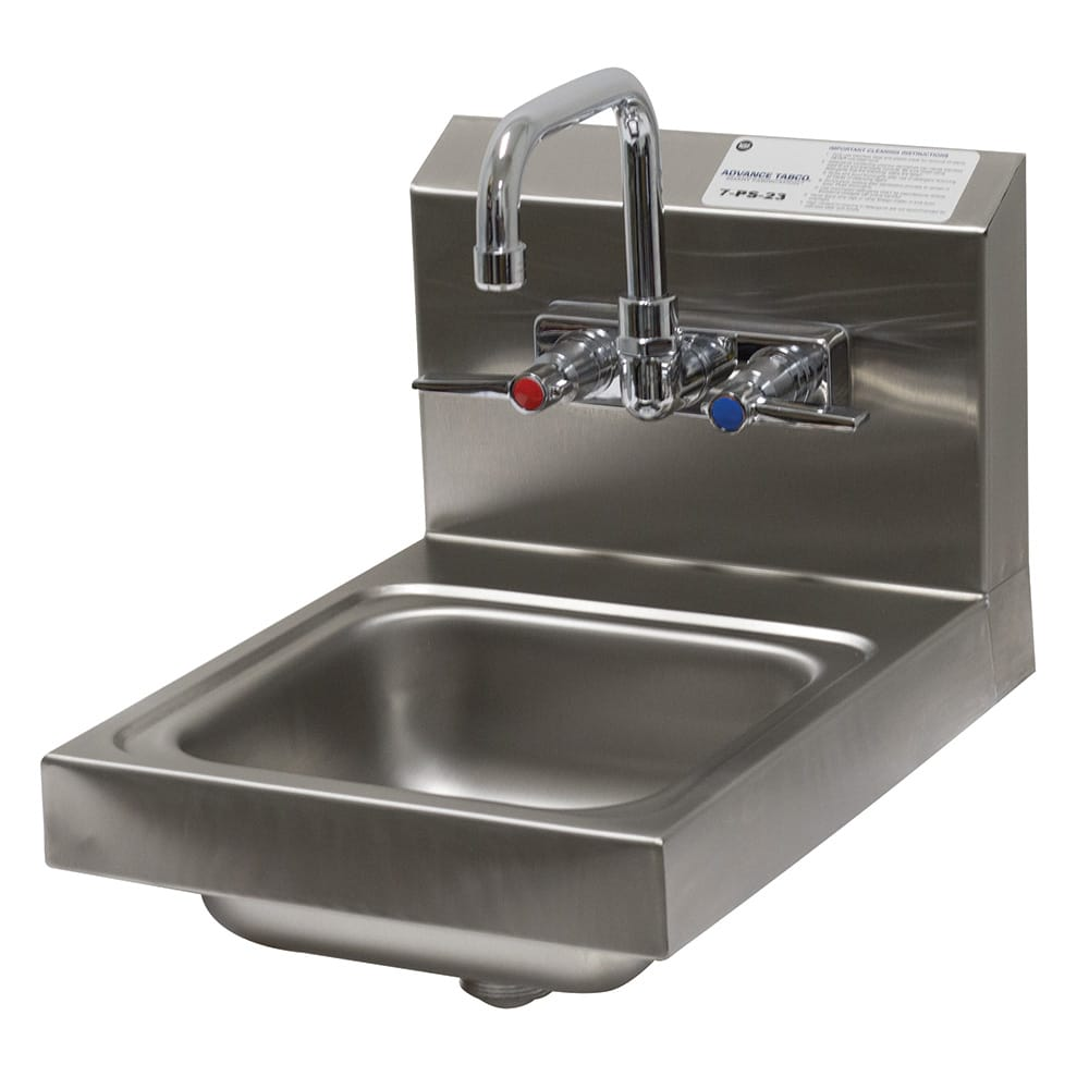 "Advance Tabco 7-PS-23 Wall Mount Commercial Hand Sink w/ 9""L x 9""W x 5""D Bowl, Standard Faucet"