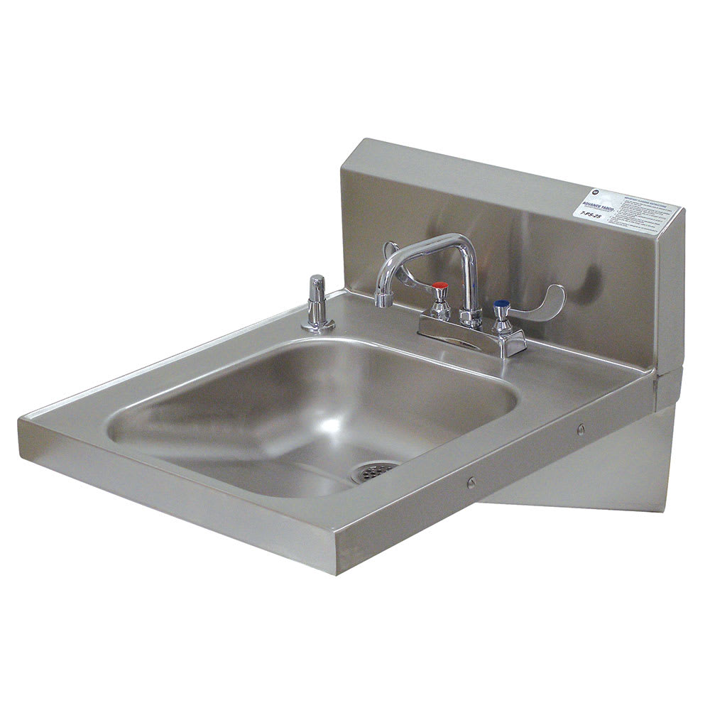 "Advance Tabco 7-PS-25 Wall Mount Commercial Hand Sink w/ 14""L x 16""W x 5""D Bowl, ADA Compliant"