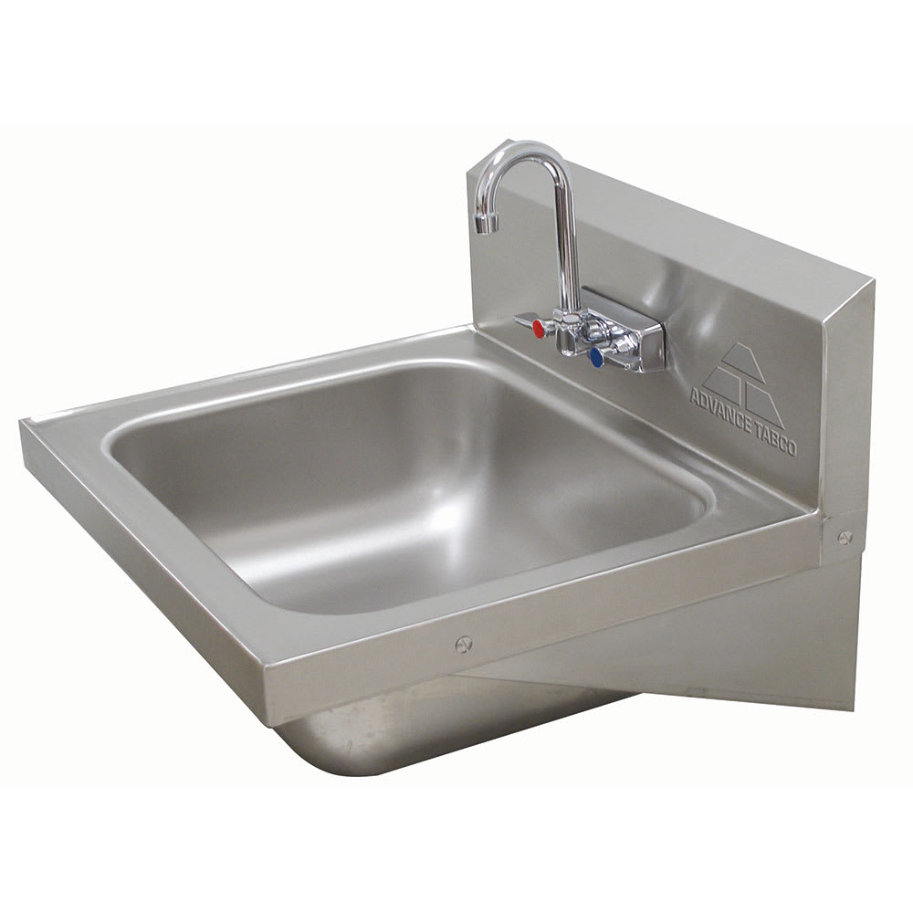 "Advance Tabco 7-PS-45 Wall Mount Commercial Hand Sink w/ 20""L x 16""W x 8""D Bowl, Gooseneck Faucet"
