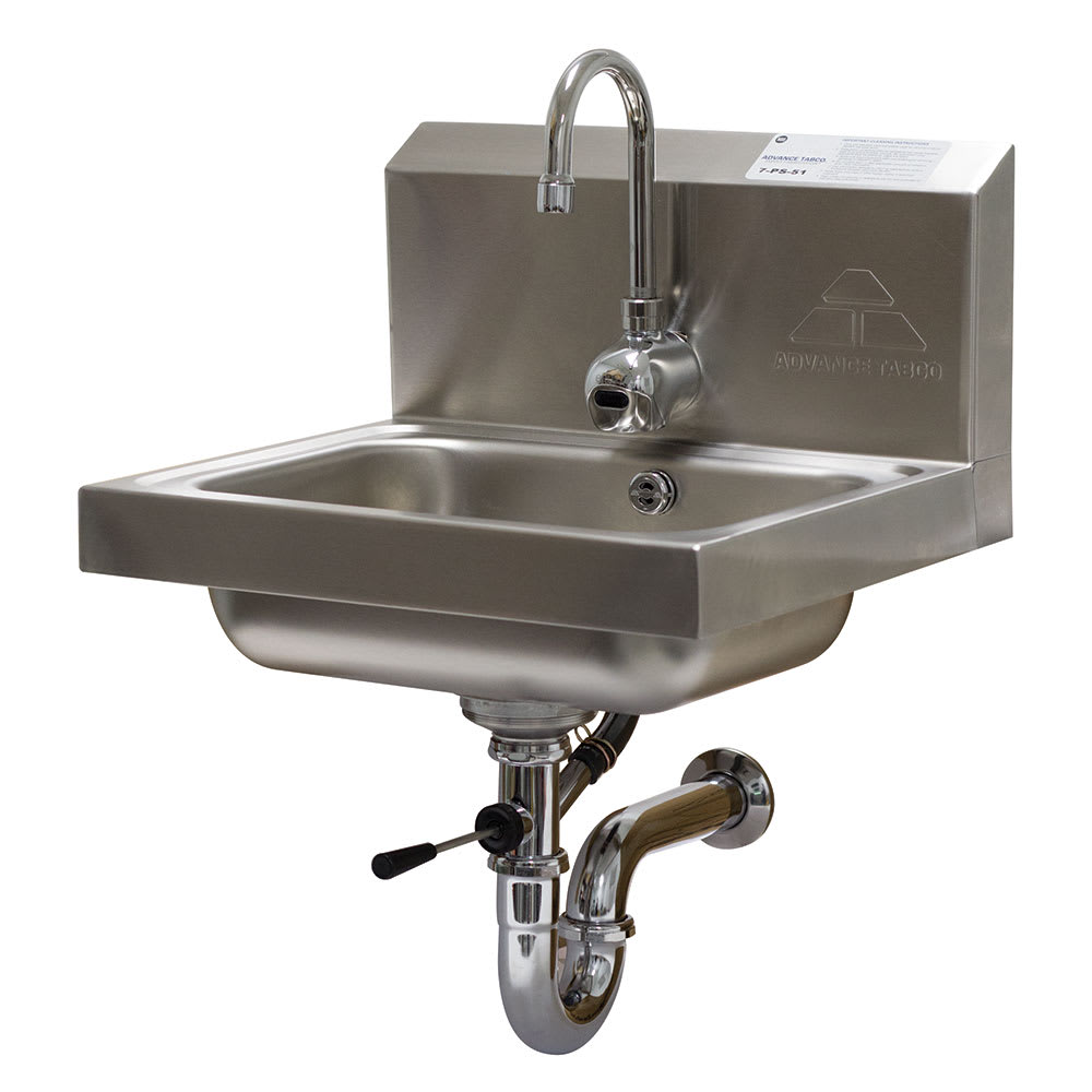 """Advance Tabco 7-PS-51 Wall Mount Commercial Hand Sink w/ 14""""L x 10""""W x 5""""D Bowl, Electronic Faucet"""