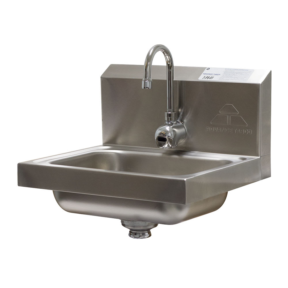 "Advance Tabco 7-PS-61 Wall Mount Commercial Hand Sink w/ 14""L x 10""W x 5""D Bowl, Basket Drain"